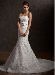 Trumpet/Mermaid Strapless Chapel Train Organza Satin Wedding Dress With Ruffle Lace Beading Bow(s) (002012838)
