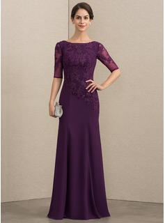 Trumpet/Mermaid Scoop Neck Floor-Length Chiffon Lace Evening Dress (017192569)