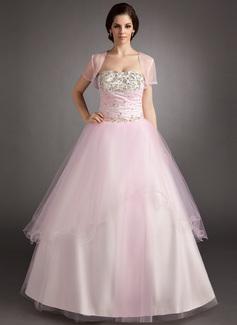 Duchesse-Linie Trägerlos Bodenlang Tüll Quinceañera Kleid (Kleid für die Geburtstagsfeier) mit Rüschen Perlen verziert Pailletten (021016395)