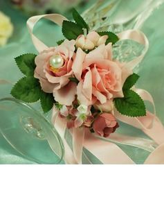 Cute Free-Form Satin/Cotton Wrist Corsage/Pin-on Corsage (124032023)