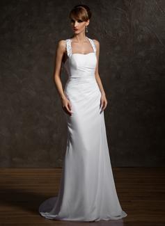 Forme Fourreau Dos nu Traîne moyenne Mousseline Robe de mariée avec Plissé Emperler Motifs appliqués Dentelle (002011507)