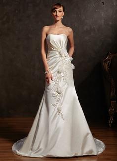 Trumpet/Mermaid Sweetheart Court Train Satin Wedding Dress With Ruffle Beading Flower(s) (002015161)