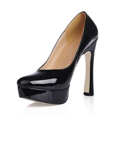Women's Patent Leather Chunky Heel Pumps Platform Closed Toe shoes (085020559)