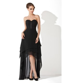 A-Line/Princess Sweetheart Asymmetrical Chiffon Evening Dress (017025915)