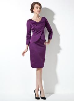 Etui-Linie V-Ausschnitt Knielang Satin Kleid für die Brautmutter (008006566)