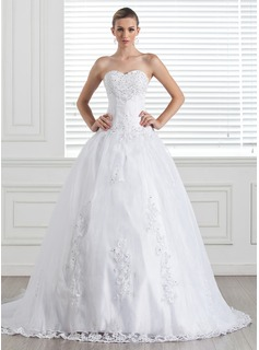 Ball-Gown Sweetheart Court Train Organza Satin Wedding Dress With Lace Beading Sequins (002005286)