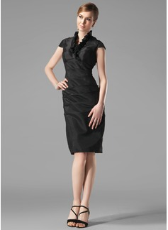 Etui-Linie V-Ausschnitt Knielang Taft Festliche Kleid mit Rüschen (020003292)