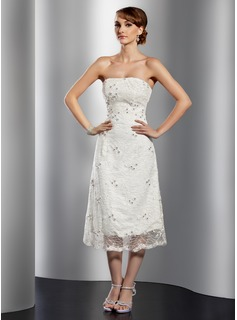 A-Line/Princess Strapless Tea-Length Lace Cocktail Dress With Beading (016014741)