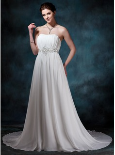 A-Line/Princess Sweetheart Court Train Chiffon Wedding Dress With Ruffle Beadwork Sequins (002004586)