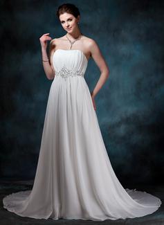 A-Line/Princess Sweetheart Court Train Chiffon Wedding Dress With Ruffle Beading Sequins (002004586)