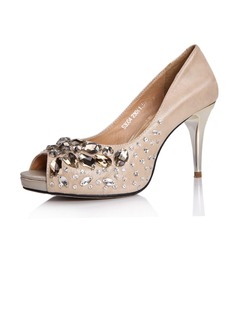 Real Leather Spool Heel Sandals Peep Toe With Rhinestone shoes (086025047)