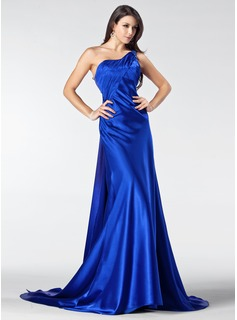 Formal Dresses Sydney A-Line/Princess One-Shoulder Court Train Tulle Charmeuse Evening Dress With Ruffle Lace Beading (017005207)
