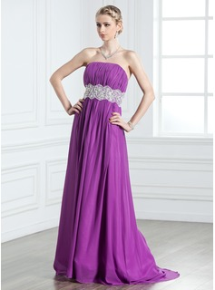 Robe de Bal de Promo Ligne-A/Princesse Sans bretelles Traine longue Mousseline Robe de Bal de Promo avec Ondul Dentelle (018005239)