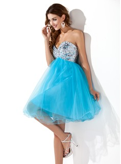 Sweet Sixteen Dresses Empire Sweetheart Knee-Length Tulle Sequined Homecoming Dress With Beading (022020908)