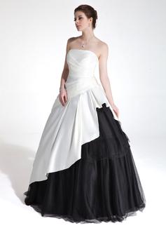 Duchesse-Linie Herzausschnitt Bodenlang Charmeuse Tüll Quinceañera Kleid (Kleid für die Geburtstagsfeier) mit Gestufte Rüschen (021020776)