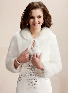 Long Sleeve Faux Fur Wedding Wrap (013020422)