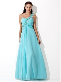 A-Line/Princess One-Shoulder Floor-Length Chiffon Prom Dress With Ruffle Beading Flower(s) (018013098)