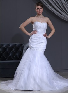 Trumpet/Mermaid Sweetheart Chapel Train Satin Tulle Wedding Dress With Lace Beading (002000112)
