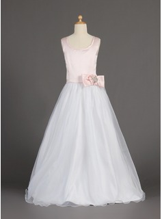 A-Line/Princess Scoop Neck Floor-Length Organza Satin Flower Girl Dress With Beading Flower(s) Bow(s) (010002160)