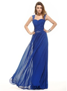 Evening Dresses A-Line/Princess Sweetheart Floor-Length Chiffon Evening Dress With Ruffle Beading (017016054)