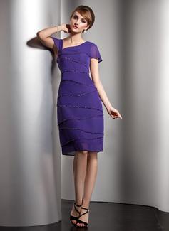 A-Linie/Princess-Linie V-Ausschnitt Knielang Chiffon Kleid für die Brautmutter mit Perlstickerei Pailletten (008006104)