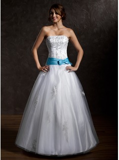 Ball-Gown Strapless Floor-Length Satin Tulle Quinceanera Dress With Lace Sash Beading (021002291)