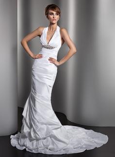 Trumpet/Mermaid Halter Court Train Taffeta Wedding Dress With Ruffle Crystal Brooch (002013769)