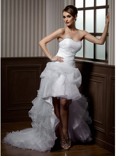 A-Line/Princess Sweetheart Asymmetrical Organza Wedding Dress With Beading Appliques Lace Cascading Ruffles (002012695)