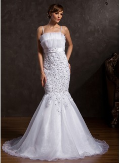 Trumpet/Mermaid Scalloped Neck Chapel Train Organza Satin Wedding Dress With Lace Sequins Bow(s) (002015171)