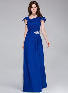 A-Linie/Princess-Linie Bodenlang Chiffon Abendkleid mit Applikationen Spitze Gestufte Rüschen (017028328)