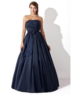 Ball-Gown Strapless Floor-Length Taffeta Prom Dresses With Ruffle Bow(s) (018005046)