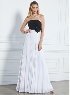 A-Line/Princess Strapless Floor-Length Chiffon Prom Dress With Beading Flower(s) Pleated (018020790)