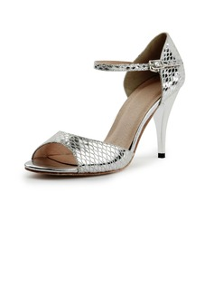 Women's Leatherette Heels Ballroom Tango With Buckle Dance Shoes (053021298)