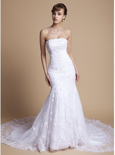 Trumpet/Mermaid Strapless Chapel Train Satin Tulle Wedding Dress With Ruffle Lace Beading Sequins (002000375)