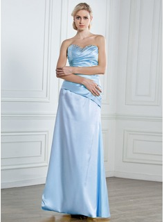 Robe de Bal de Promo Gaine Cur Longeur au sol Satin Robe de Bal de Promo avec Ondul Brod Paillet (018013096)