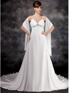 Empire V-neck Chapel Train Chiffon Wedding Dress With Ruffle Beading Sequins (002012125)