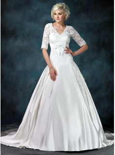 Ball-Gown V-neck Chapel Train Satin Tulle Wedding Dress With Ruffle Lace Bow(s) (002011615)