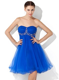 Sweet Sixteen Dresses Empire Sweetheart Knee-Length Tulle Homecoming Dress With Ruffle Beading (022021067)