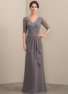 A-Linie V-Ausschnitt Bodenlang Chiffon Spitze Kleid für die Brautmutter mit Perlstickerei Pailletten Gestufte Rüschen (008154437)