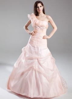 A-Linie/Princess-Linie One-Shoulder-Träger Hof-schleppe Organza Quinceañera Kleid (Kleid für die Geburtstagsfeier) mit Rüschen (021015875)