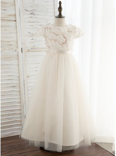 A-Line Ankle-length Flower Girl Dress - Tulle/Lace Short Sleeves Scoop Neck With Flower(s) (010172360)