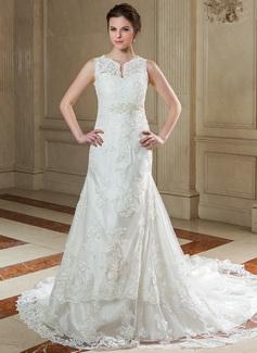 A-Line/Princess V-neck Chapel Train Organza Wedding Dress With Beading Appliques Lace (002004780)