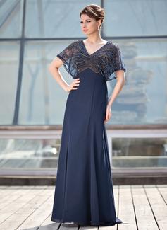 A-Linie/Princess-Linie V-Ausschnitt Bodenlang Chiffon Kleid für die Brautmutter mit Perlen verziert (008018938)