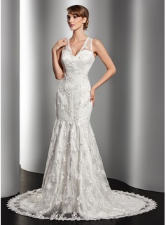 Trumpet/Mermaid V-neck Court Train Satin Lace Wedding Dress With Beading (002014512)