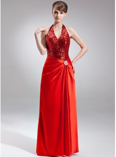A-Line/Princess Halter Floor-Length Charmeuse Sequined Holiday Dress With Crystal Brooch (020025935)