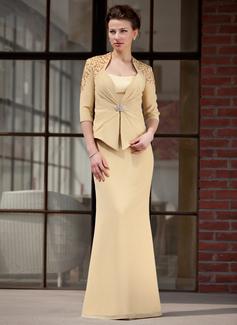 Trompete/Meerjungfrau-Linie Herzausschnitt Bodenlang Chiffon Charmeuse Kleid für die Brautmutter (008018721)