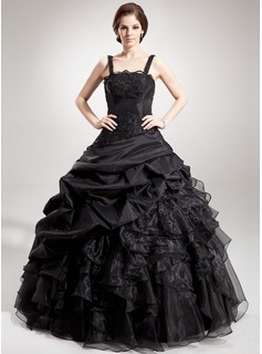 Ball-Gown Square Neckline Floor-Length Taffeta Organza Quinceanera Dress With Lace Beading Sequins Cascading Ruffles (021002873)