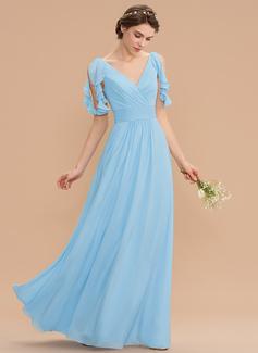 A-Line V-neck Floor-Length Chiffon Bridesmaid Dress With Cascading Ruffles (007165841)