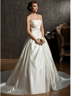 Ball-Gown Sweetheart Chapel Train Satin Wedding Dress With Ruffle Beading (002011522)