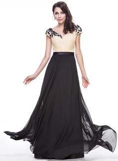 A-Linie/Princess-Linie V-Ausschnitt Bodenlang Chiffon Abendkleid mit Perlstickerei Applikationen Spitze Pailletten (017056522)